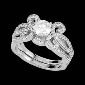 Gold Semi Mount Fantasy Diamond Engagement Ring