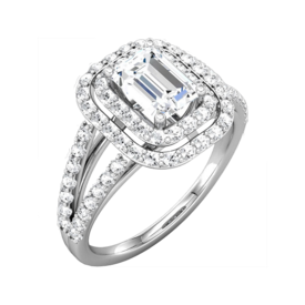 Platinum Semi Mounts Emerald Cut Halo Diamond Semi Mount
