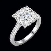 Floral Halo Diamond Semi Mount