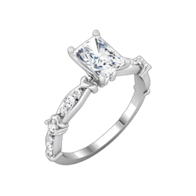 Romantic Radiant Diamond Semi Mount