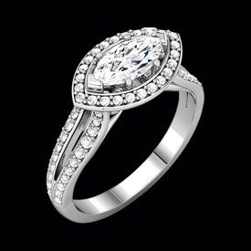 Diamond East West Marquise Semi Mount