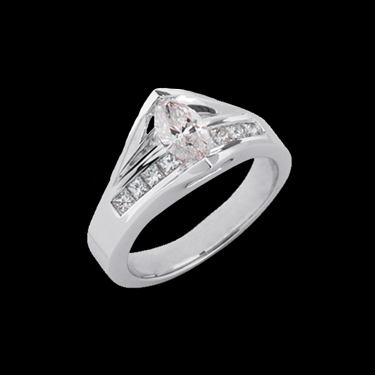 Marquise Bridge Platinum Engagement Ring