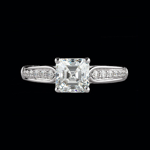 Square Center Diamond Engagement Ring