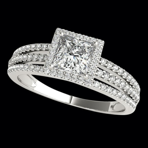 Three Row Diamond Halo Engagement Ring