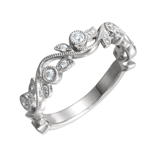 Floral Inspired Diamond Anniversary Band