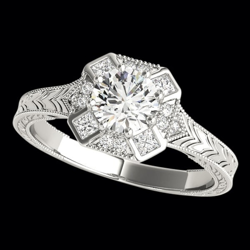 Engraved Nostalgic Diamond Engagement Ring