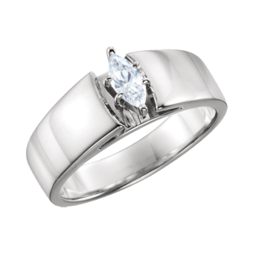 Wide Marquise Solitaire Engagement Ring