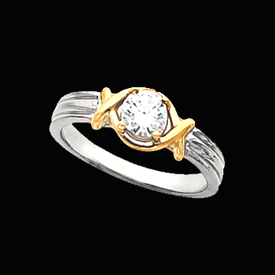 Solitaire Engagement Rings Two Tone Diamond Solitaire