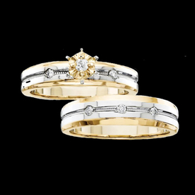 Two Tone Trio Wedding Set