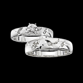 White Gold Fancy Trio Wedding Set