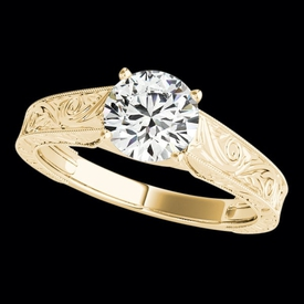Solitaire Engagement Rings Stunning Engraved Diamond Solitaire