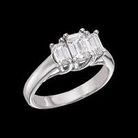 Three Stone Settings Platinum Three Stone Wedding Ring