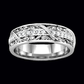 Anniversary Rings Sculptural Diamond Eternity Band