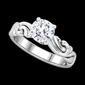 Sculptural Diamond Solitaire Engagement Ring
