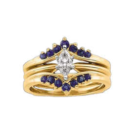Ring Guards & Wraps Sapphire Gold Ring Guard
