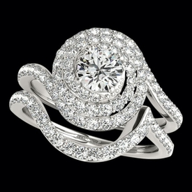 Halo Spiral Diamond Engagement Ring